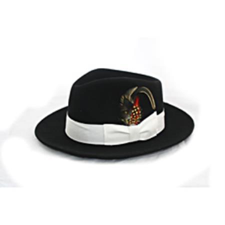 Men's Black Wool White Banded Fedora Hat