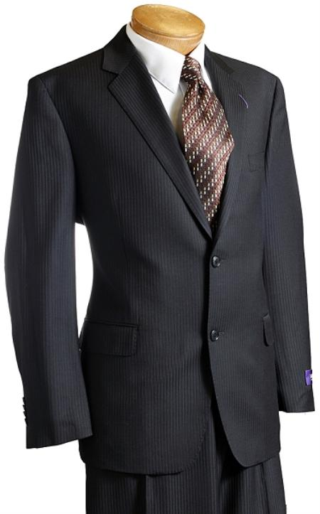 SKU#BPIN8193 Mens Black Pinstripe Wool Italian Design Suit