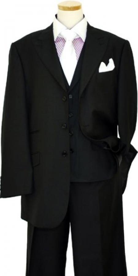 Mens Peak Lapel Three buttons Solid Black Wool Vested Lapeled Vested 3PC Suit Wide leg Pleated pants