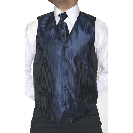 Mens 4-Piece Vest Tie Accessory Set Blue/Black Also available in Big and Tall Sizes
