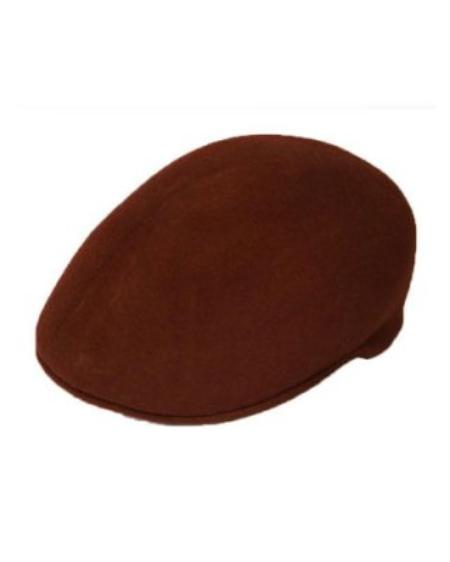 SKU#DA2111 Mens Dress Hats Dark Brown English Cap Hat