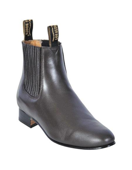 Dark Brown Leather Boot botines para hombre For Men - Short Cowboy - Western Ankle Boots