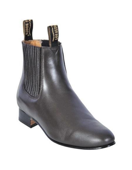 SKU#GD209 Los Altos Charro Botin Short Ankle Deer Dark Brown Leather Boot ~ botines para hombre For Men