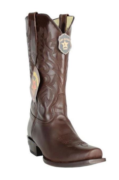 Mens 7 Toe Los Altos Genuine Premium Leather Dark Brown Cowboy Handmade Boots