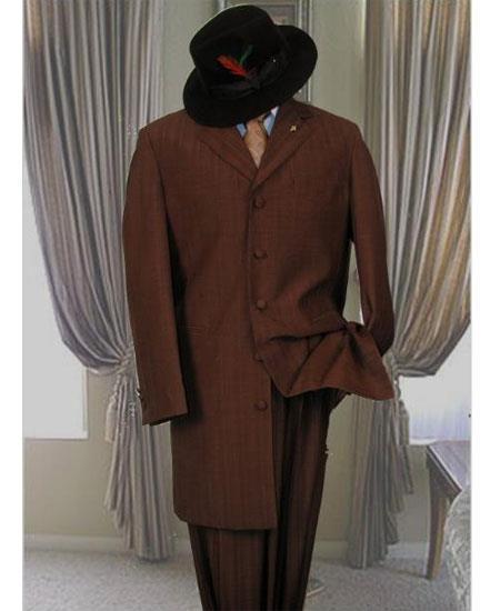 Men's Dark Brown  5 Button Long Zoot Suit