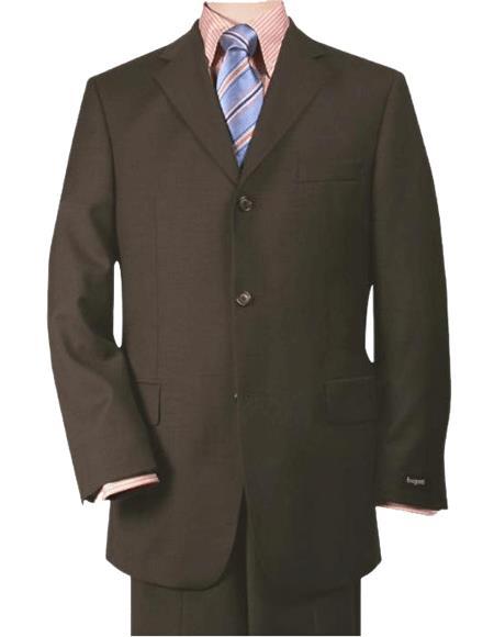 Rich Chocolate Dark Brown Three - 3 Buttons Style Super 140's Wool Three - 3 Buttons  premier q