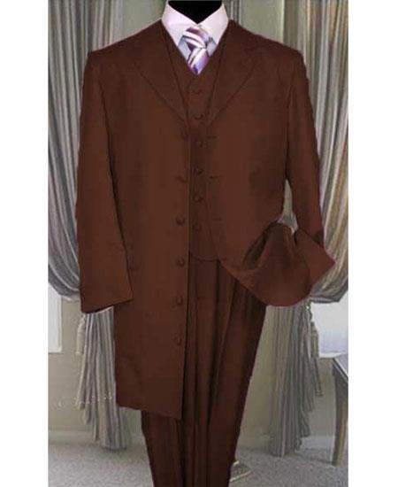 Buy GD1698 Men's Button Closure Dark Brown Vested Long Zoot Suit