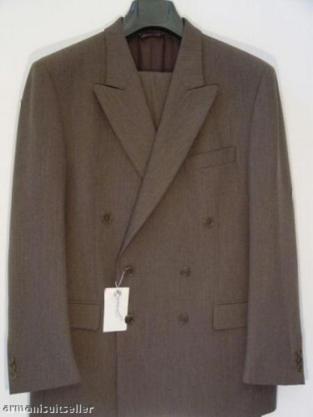 SKU# QW82 Dark Brwon Double Breated Wool Suit $119