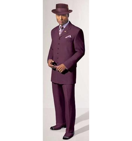 SKU# TBT524 Dark Burgundy 5 Buttons Fashion Dress Men