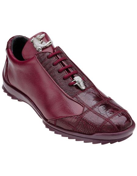 Mens Dark Burgundy ~ Wine ~ Maroon Color Belvedere Paulo Genuine Ostrich / Soft Calfskin Casual Sneakers