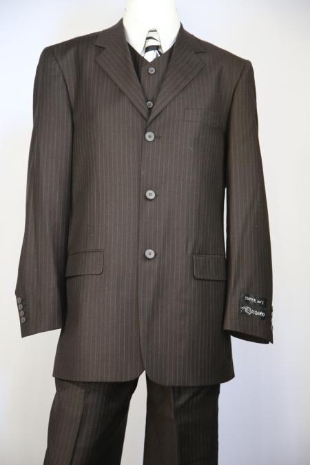 Single Breasted Men's Duffel Texture Chocolate Dark  Brown Stripe Zoot Suit