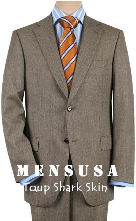 SKU# HW2 Dark Gray-Taup Shark Skin Texturized Pattern 2 Button Business Suits $199