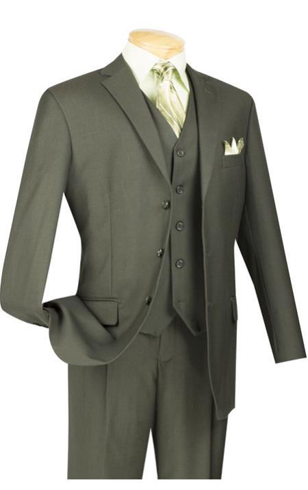 Vinci Dark Olive Green Super 150s Mens 3 Piece Suit Dark Olive 2 buttons