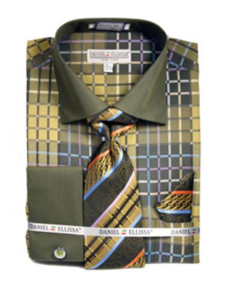French Cuff Lime Checker Pattern Tie Set Men's Dress Shirt