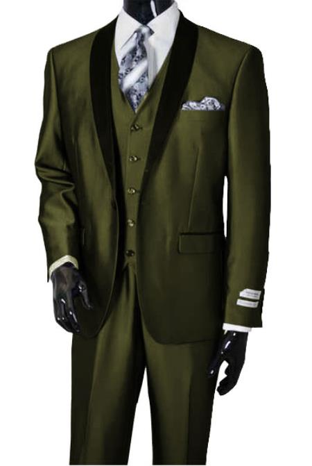 Men's Dark Olive Shawl Lapel Sharkskin Vested 3 Piece Suit Tuxedo