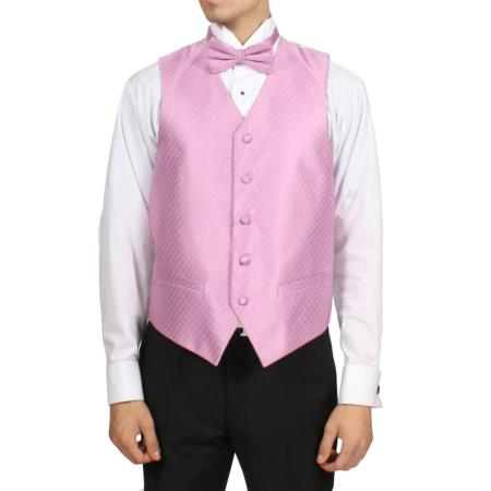 Mens Dark Pink 4-Piece Vest Set Also available in Big and Tall Sizes
