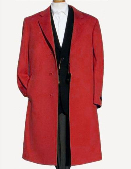 Mens Dark Red Soft Finest Wool Notch Lapel 3 Buttons Overcoat