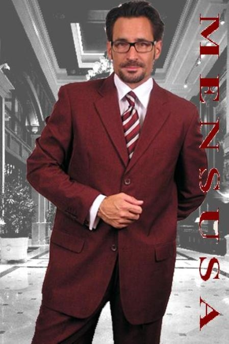 SKU# MU99 Dark Burgundy~Wine 2or3 buttons Mens Dress Suits $109