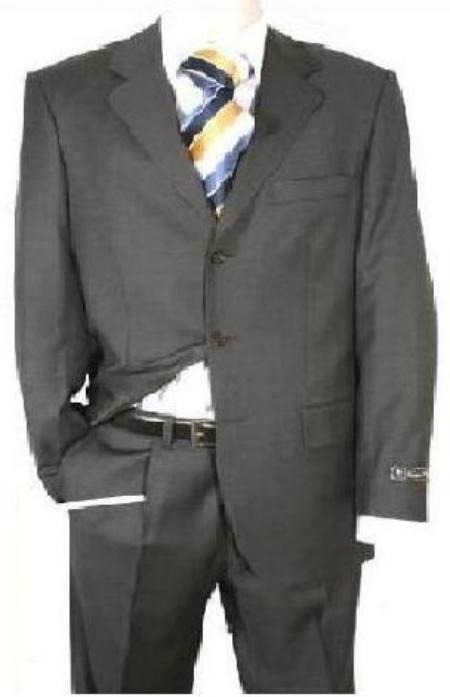 SKU#KY93  Dark Charcoal Gray Mens Single Breasted Discount Dress 3 Button Cheap Suit $79