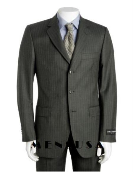 SKU# MER732 Dark Charcoal Gray Multi Pinstripe 3 Button Super 120s Wool Pleated Pants