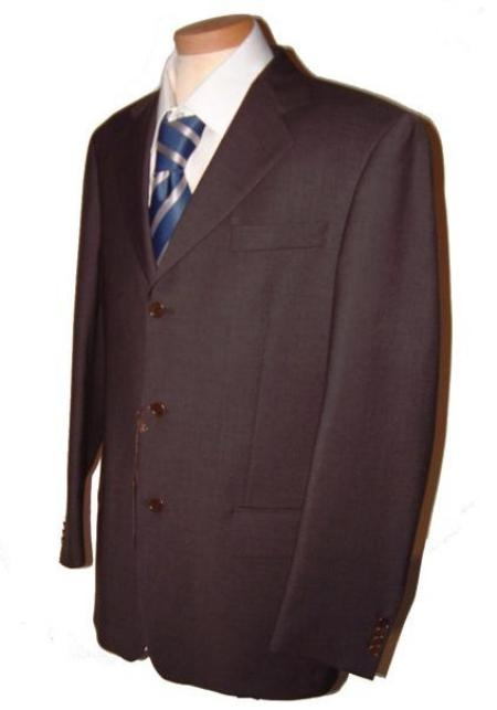 SKU#KGC754 Dark CoCo Brown Mens Single Breasted Discount Dress 3 Button Cheap Suit $79