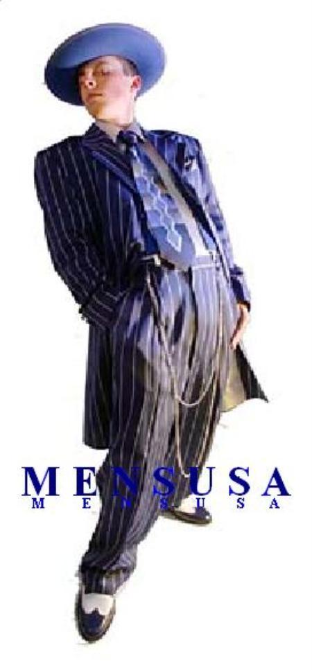 SKU# A675SA Dark Navy Blue & White Pinstripe Men