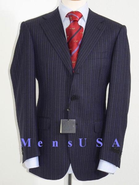SKU# RGV903 $1295 S80012 Dark Navy Blue With Double (Blue & Gray) Mini Pinstripe Salt & Pepper Birdseye Pattern 2/3 Buttons Men $295