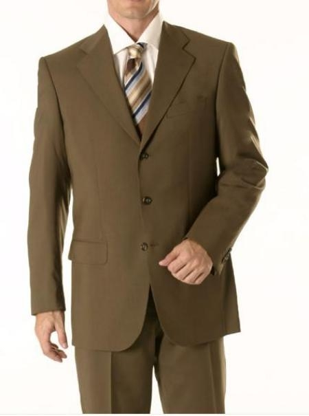 SKU# 62 Dark Olive Green Business Suit Super 150 Wool & Cashmere 3-Button premier quality italian fabric Mens Suits $199