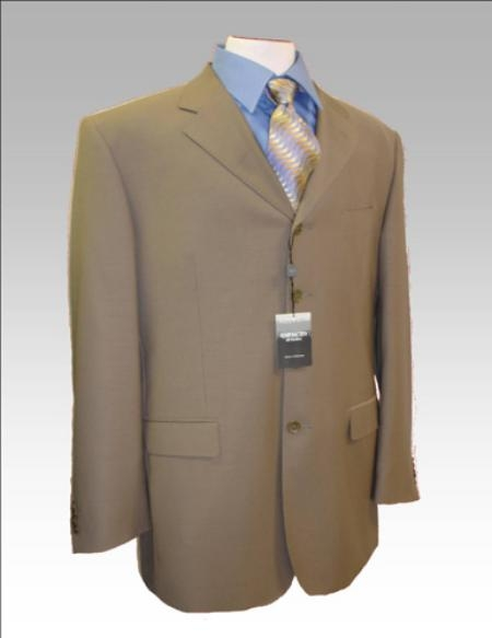 Dark Tan Beige Coffe Taupe Mocca Wool Blend 3 Button Suit