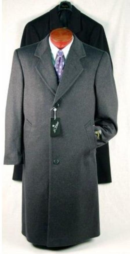 SKU#EmilyC03 Darkest Charcoal Gray Single Breasted Wool Blend Topcoat Long 46 inches in length $135