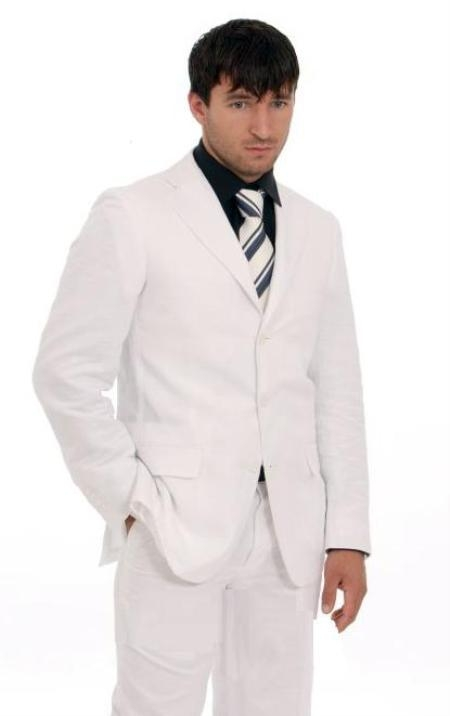 Combo Deal! 100% Geneve White Suit Pearl Suit + Black Shirt + Matching Tie Men Suit Only $259.99