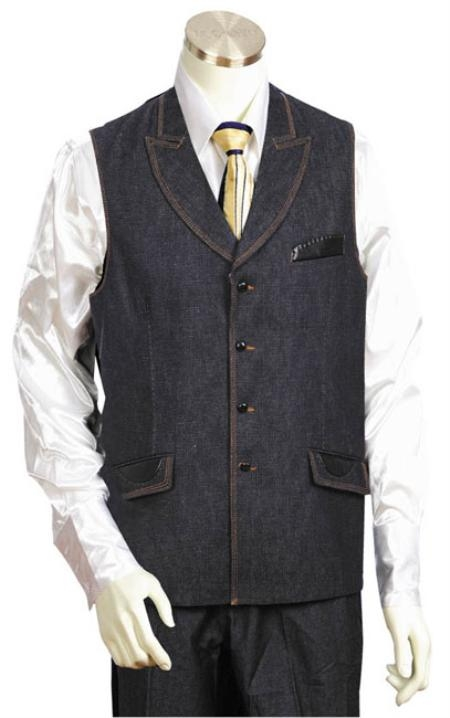 Mens Black 2pc Denim Vest Sets Leisure Casual Suit For Sale