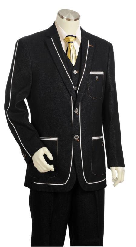 Men's Stylish Contours Denim  Patch Pocket Zoot Suit Black