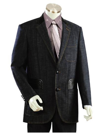 Men's 2 Buttons Suits Midnight Blue Denim Blue Fabric Leisure Casual Suit For Sale