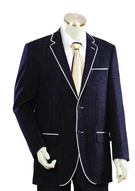 SKU#HJ1245 Mens Two Buttons Style Comes In Dark Blue Denim Fabric White Trim Lapel Pleated Pants Leisure Casual Suit For Sale