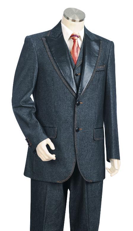 Mens 3 Piece Vested Blue Fashion Zoot Denim Fabric Suit