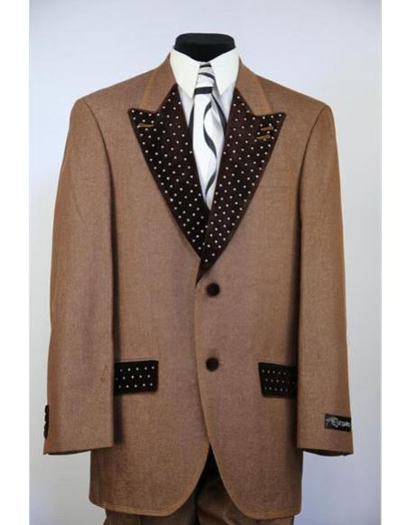 Mens rhinestone peak lapel denim 2pc rust zoot fashion entertainment suit
