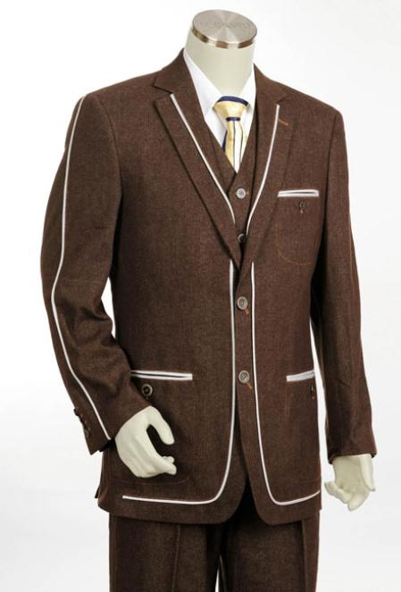 Men's 2 Button 3PC Fashion Denim Cotton Fabric Trimmed Two Tone Blazer/Suit/Tuxedo Brown
