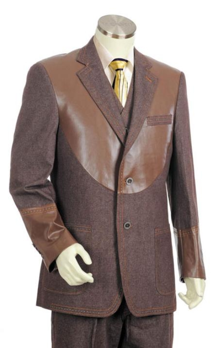 Men's Brown 2 Button 3pc Fashion Denim Cotton Fabric Trimmed Two Tone Blazer/Suit/Tuxedo