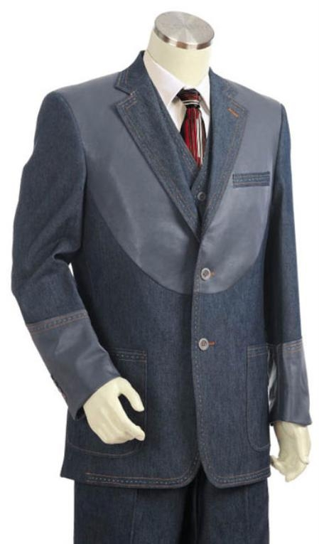 Mens 2 Button 3pc Fashion Denim Cotton Fabric Cotton Fabric Trimmed Two Tone Blazer/Suit/Tuxedo Grey ~ Gray