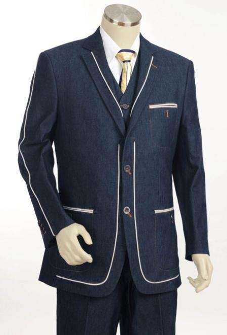 Mens 2 Button 3pc Fashion Denim Cotton Fabric Trimmed Two Tone Blazer/Suit/Tuxedo Dark Navy