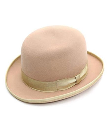 Dress Formal Premium Tan  Lined Wool Clockwork Classic Derby Hat