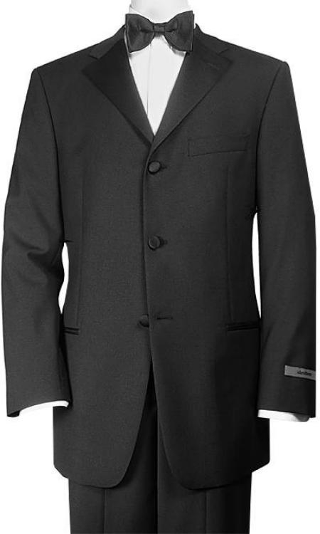 SKU# TW2 Designer 3 Button Super 110s Wool Feel Light Weight Soft Poly~Rayon Tuxedo Jacket + Pants + Shirt + Bow tie $155