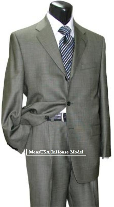 SKU# LMA879 Designer Black-White Shark Skin Weave Pattern Mid-Gray Comes in 2 or 3 Button Wool Suit $249