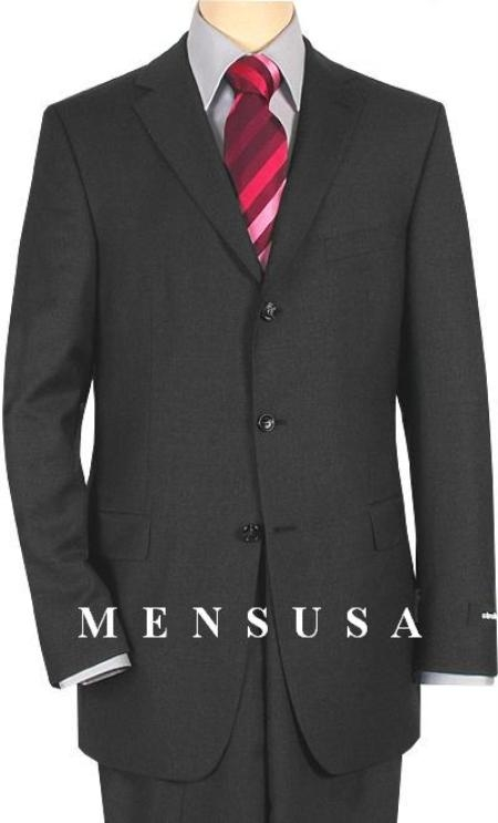 SKU# BOL359 Designer HarWick Solid Dark Charcoal Gray 2 or 3 Buttons Super Worsted Wool Suit $249