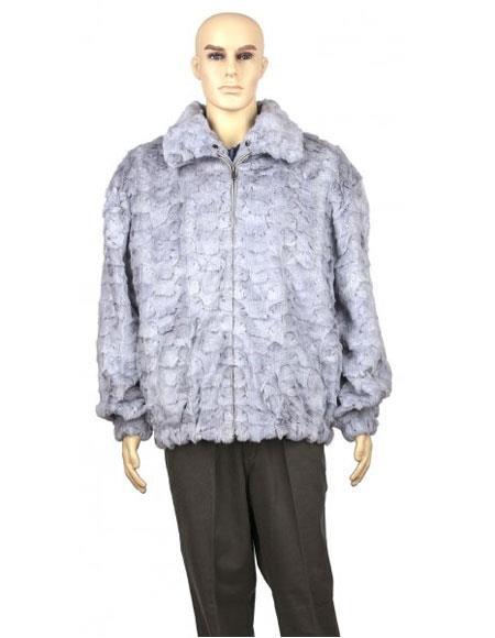 Mens Sapphire Fur Genuine Mink With Diamond Mink Collar Jacket