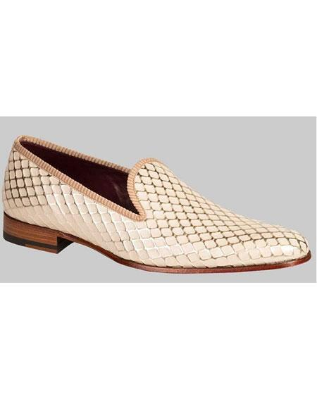 Buy GD468 Men's Handmade Diamond Pattern Bone Calfskin Slip Shoes Authentic Mezlan Brand