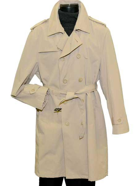 Beige Mens Dress Coat Adjustable Belt Double Breasted Notch Trench Coat