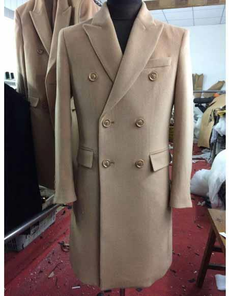 Men's Vintage Style Coats and Jackets Mens Peak Lapel Double Breasted 6 Buttons Wool Long Beige Overcoat $299.00 AT vintagedancer.com