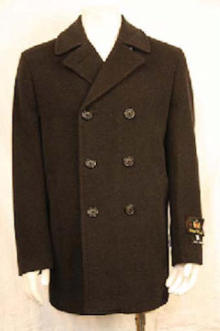 Mens Dress Coat Double Breasted PeaCoat Black